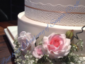 wedding cake flowers and lace