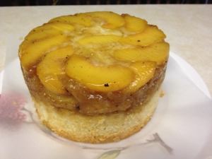 Upside down peach cake made with fresh harvested peaches and marzipan batter